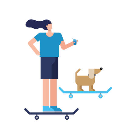 young woman and dog in skateboards practicing activity character vector illustration design