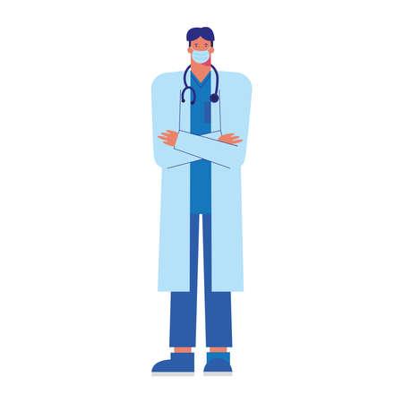 professional doctor wearing medical mask vector illustration design