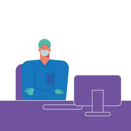 professional surgeon wearing medical mask working in desktop vector illustration design