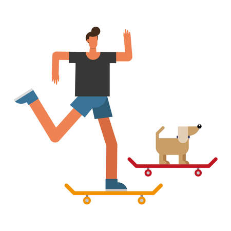young man and dog mascot in skateboards practicing activity characters vector illustration design