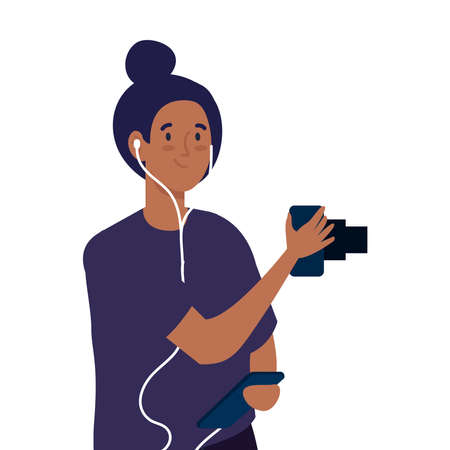 young photographer woman taking a photo on white background vector illustration design
