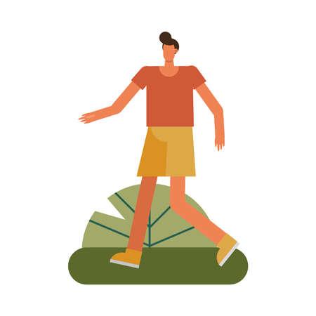 young man walking practicing activity character vector illustration design