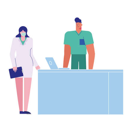 professional doctors couple wearing medical masks with laptop vector illustration design
