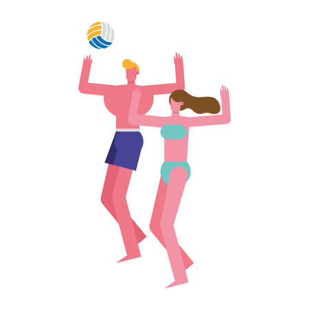 young couple wearing swimsuits playing volleyball characters vector illustration design 矢量图像