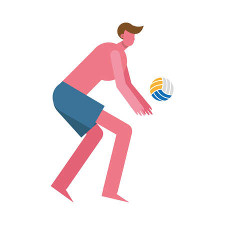 young man wearing swimsuit playing,volleyball character vector illustration design