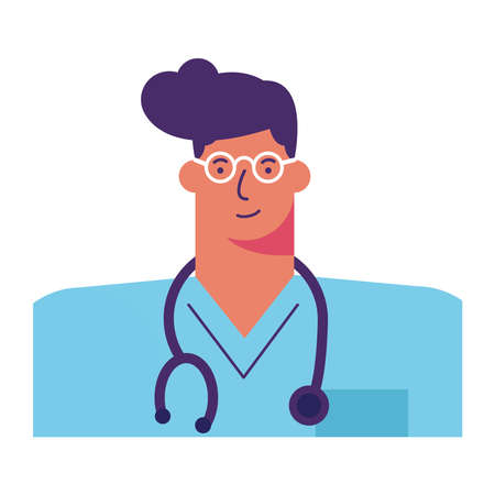 professional doctor surgeon with stethoscope avatar character vector illustration design