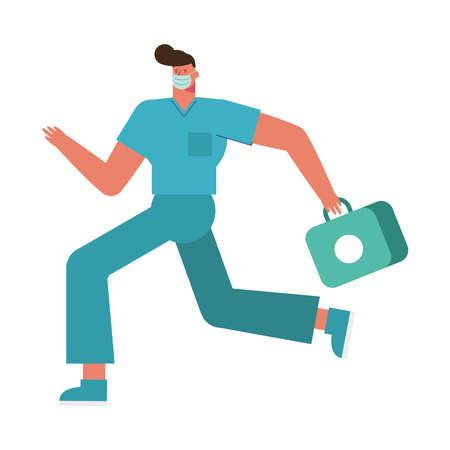 professional surgeon wearing medical mask running with medical kit vector illustration design 矢量图像