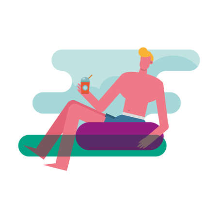 young man wearing swimsuit relaxing in float character vector illustration design