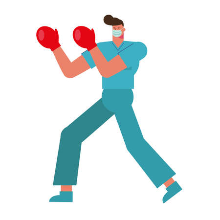 professional surgeon wearing medical mask fighting with gloves boxer vector illustration design
