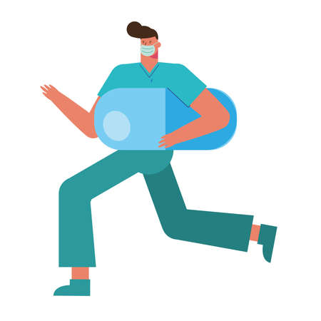 professional surgeon wearing medical mask running with capsule vector illustration design