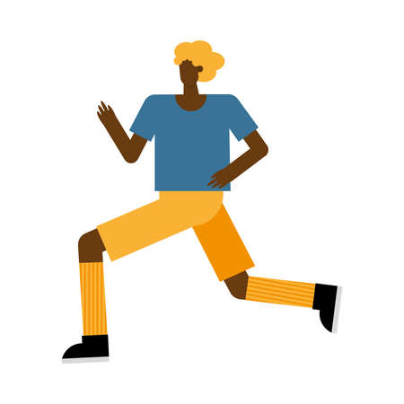 young afro man running practicing activity character vector illustration design