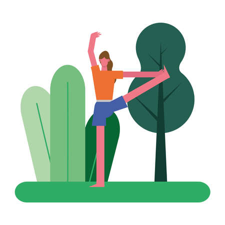 young woman practicing exercise character vector illustration design 矢量图像