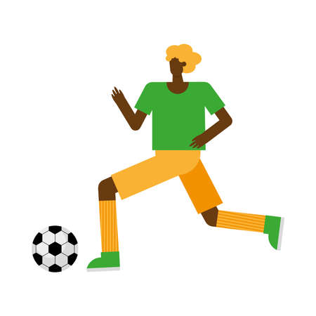 young afro man playing soccer practicing activity character vector illustration design
