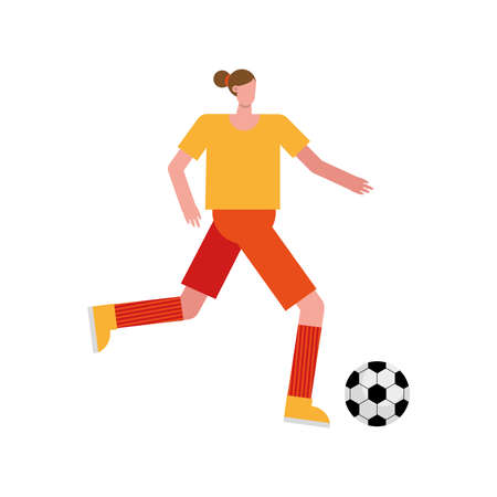 young woman playing soccer character vector illustration design