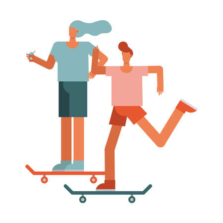 young couple in skateboards sports characters vector illustration design