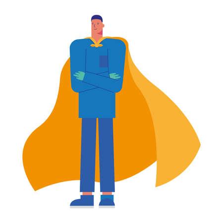 professional doctor surgeon with hero cloak vector illustration design