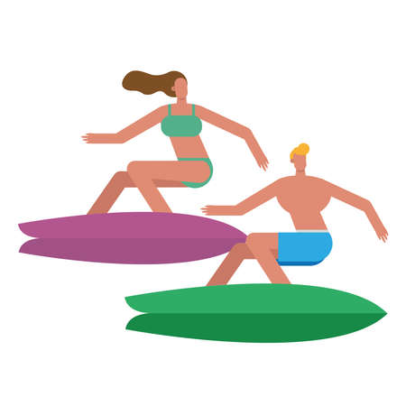 young couple wearing swimsuits surfing characters vector illustration design 矢量图像