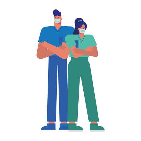 professional doctors couple wearing medical masks vector illustration design