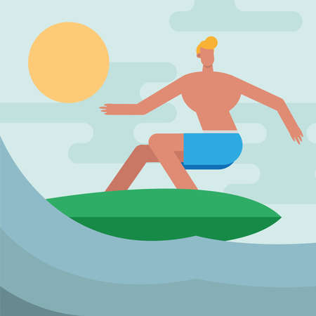 young man wearing swimsuit surfing character vector illustration design 矢量图像