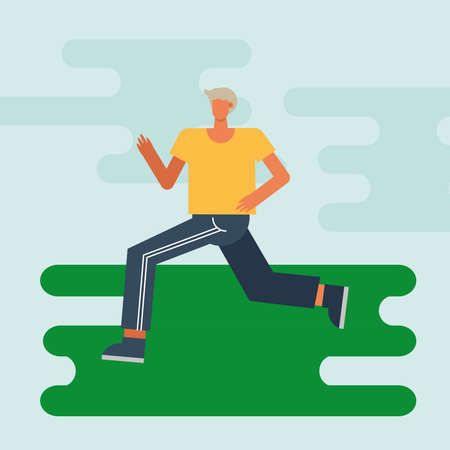 young man running practicing activity character vector illustration design 矢量图像