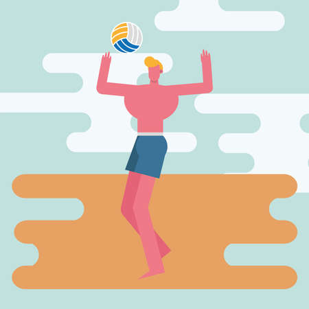 young man wearing swimsuit playing volleyball character vector illustration design