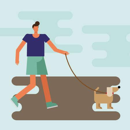 young man walking with dog mascot character vector illustration design 矢量图像