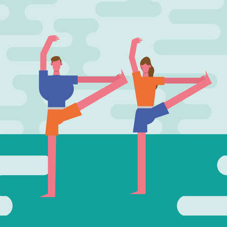 young couple practicing exercise characters vector illustration design
