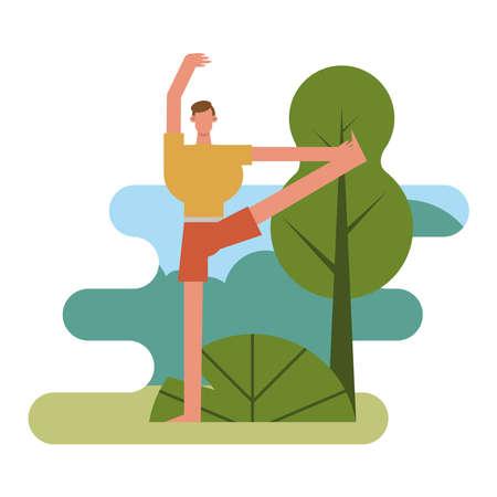 young man practicing aerobics character vector illustration design