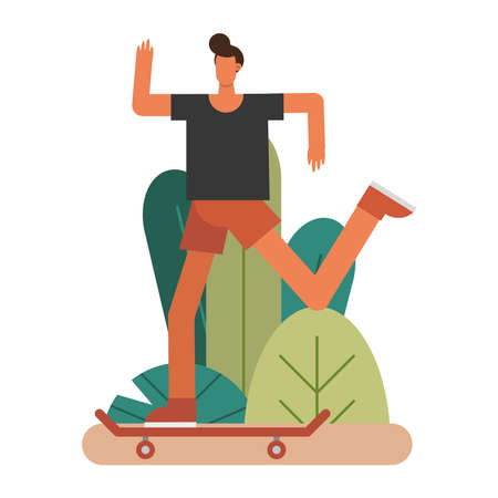 young man in skateboard practicing activity character vector illustration design 矢量图像