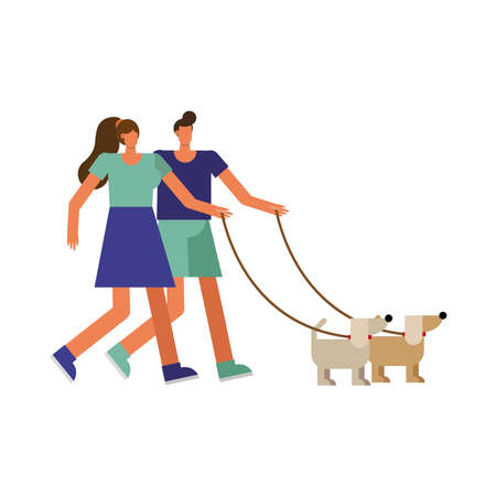 young couple walking with dog sport characters vector illustration design