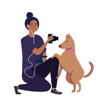 young photographer woman taking a photo to dog on white background vector illustration design Illustration