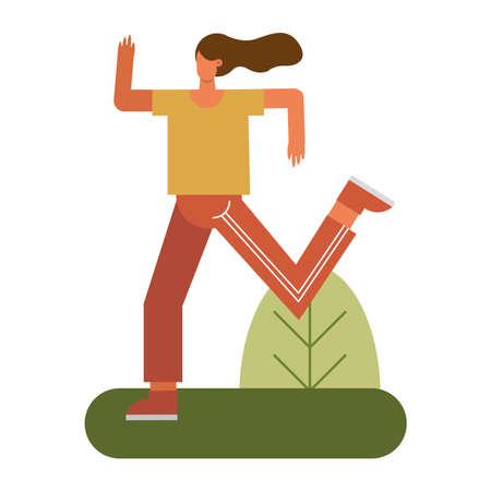 young woman running practicing activity character vector illustration design 矢量图像