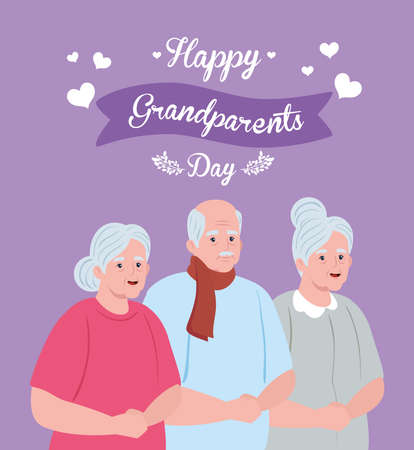 happy grand parents day with cute old people vector illustration design