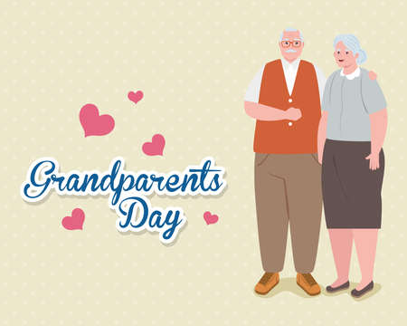 happy grand parents day with cute older couple and hearts decoration vector illustration design