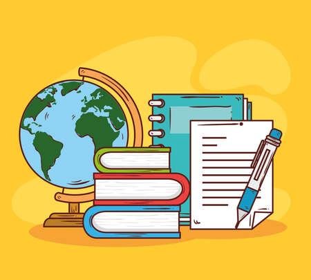 education concept, pile books with school icons vector illustration design Vektoros illusztráció