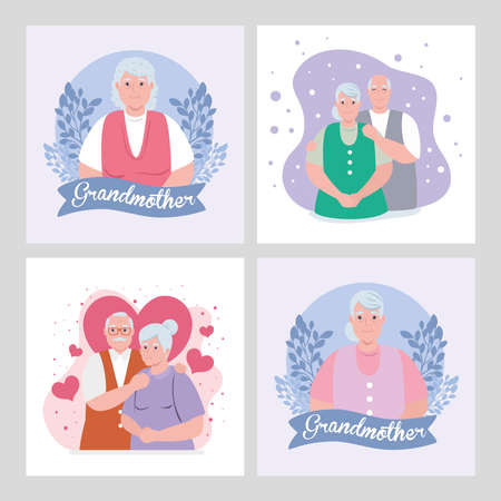 set cards of happy grand parents day with cute old people vector illustration design Illustration