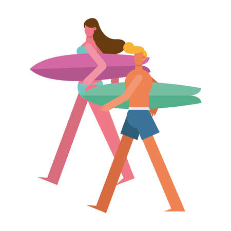 young couple wearing swimsuits walking with surfboards characters vector illustration design