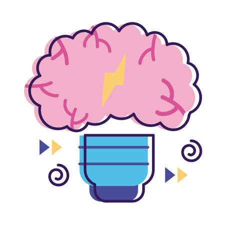 bulb with brain mental health flat style icon vector illustration design Vettoriali
