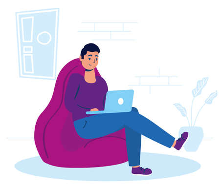 man using laptop in sofa stay at home campaign vector illustration Vetores