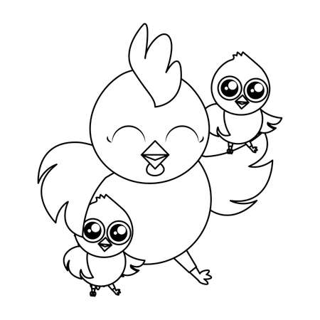 beautiful hen with littl chicks easter characters vector illustration design