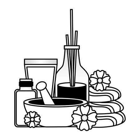 mortar stones cosmetics bottles aromatherapy sticks spa treatment therapy vector illustration