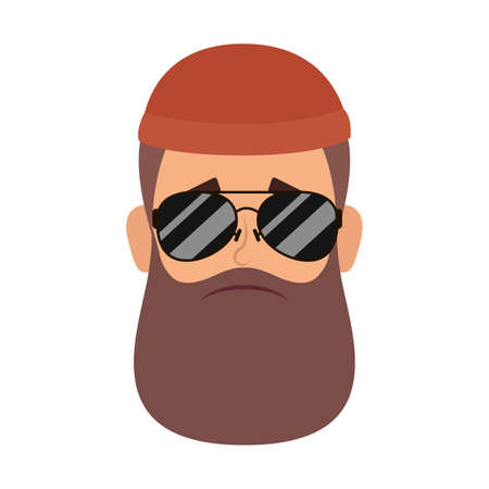 motorcyclist man with beard and sunglasses head vector illustration design