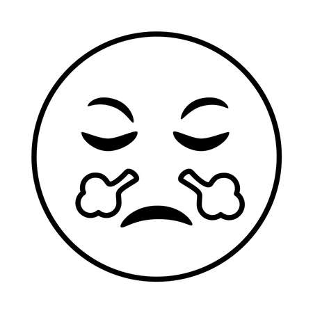 angry emoji face smoke coming out of his nose line style icon vector illustration design  イラスト・ベクター素材