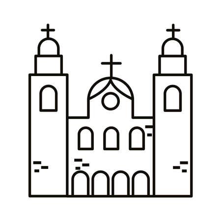 candelaria church brazil monument line style icon vector illustration design
