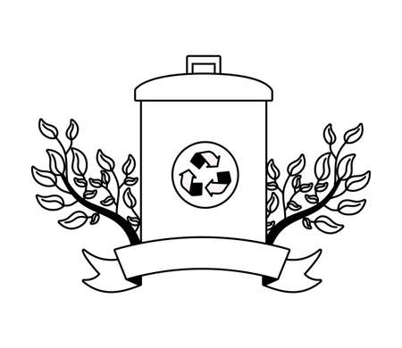 trash can ecology earth day card vector illustration