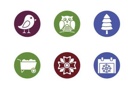bundle of spring set block icons vector illustration design