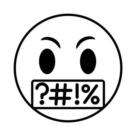 emoji face saying rude line style icon vector illustration design
