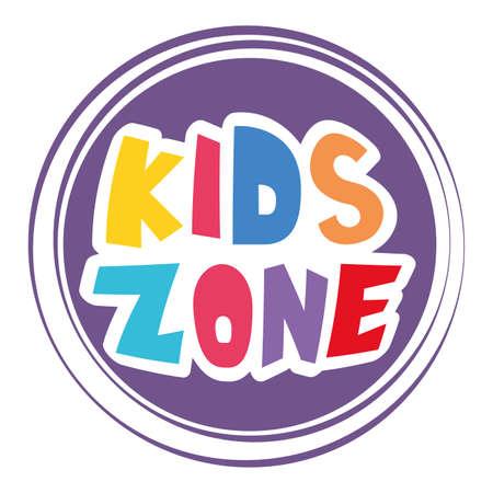 kids zone lettering label icon vector illustration design
