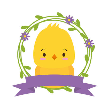 cute chicken cartoon sticker flowers vector illustration