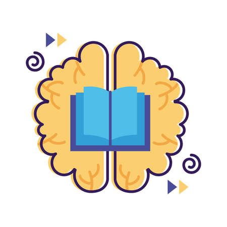 brain with book mental health flat style vector illustration design